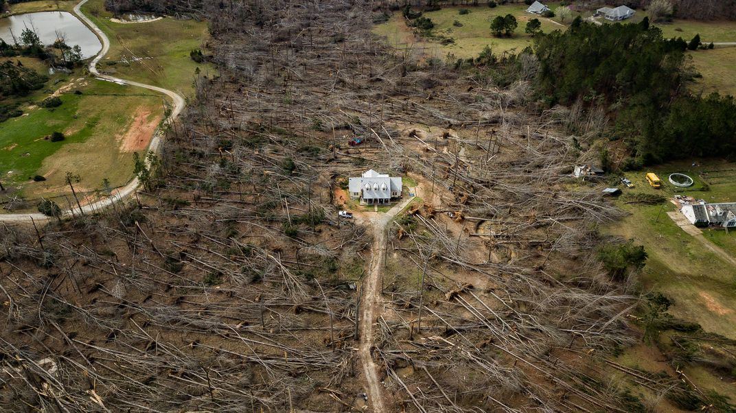 The photo 'Home survives direct hit from tornado' by Matt Gillespie wins the Readers' Choice award of the 17th annual Smithsonian magazine photo contest. The home was in the direct line of a tornado that hit Ellerslie, Georgia. Most of the trees on the property had fallen, but the house stood with minimal damage.