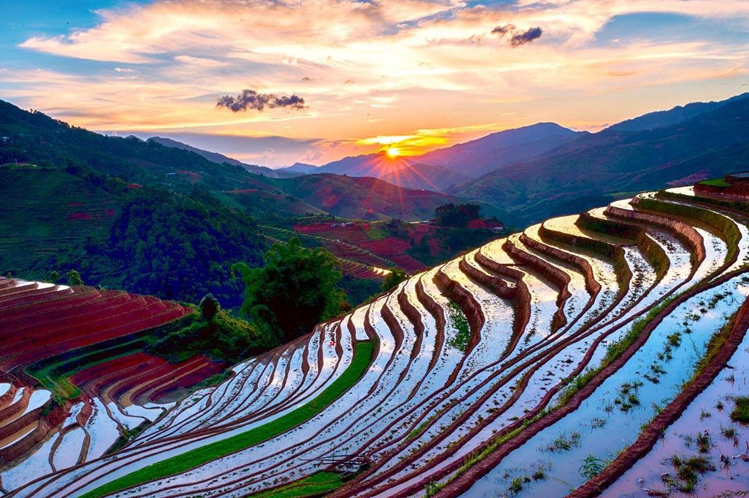 'Sunset in the northwest mountain with the watered rice terraces on the foreground,' Prabu Mohan gives a caption to this photo taken during his trip to Mu Cang Chai District in Yen Bai northern province posted on his Instagram handle @the_prabster. Photo: Supplied