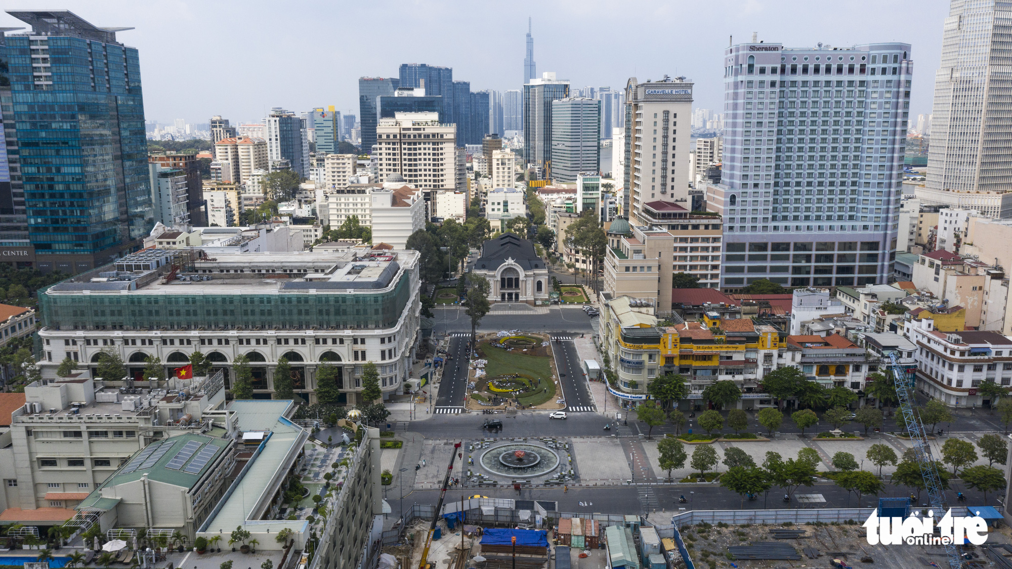 A bird eye's view of the Municipal Theater Terminal of Ho Chi Minh City's metro line No. 1 project in District 1. Photo: Quang Dinh / Tuoi Tre