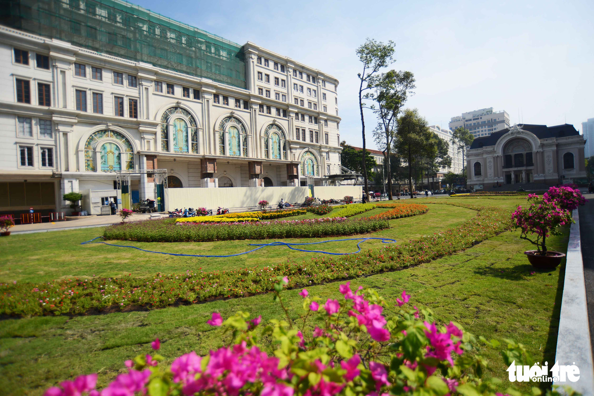 The construction site for a downtown terminal of Ho Chi Minh City's metro line No. 1 project has been cleared for a green space opposite to the Municipal Theater in District 1, Ho Chi Minh City, Vietnam. Photo: Quang Dinh / Tuoi Tre