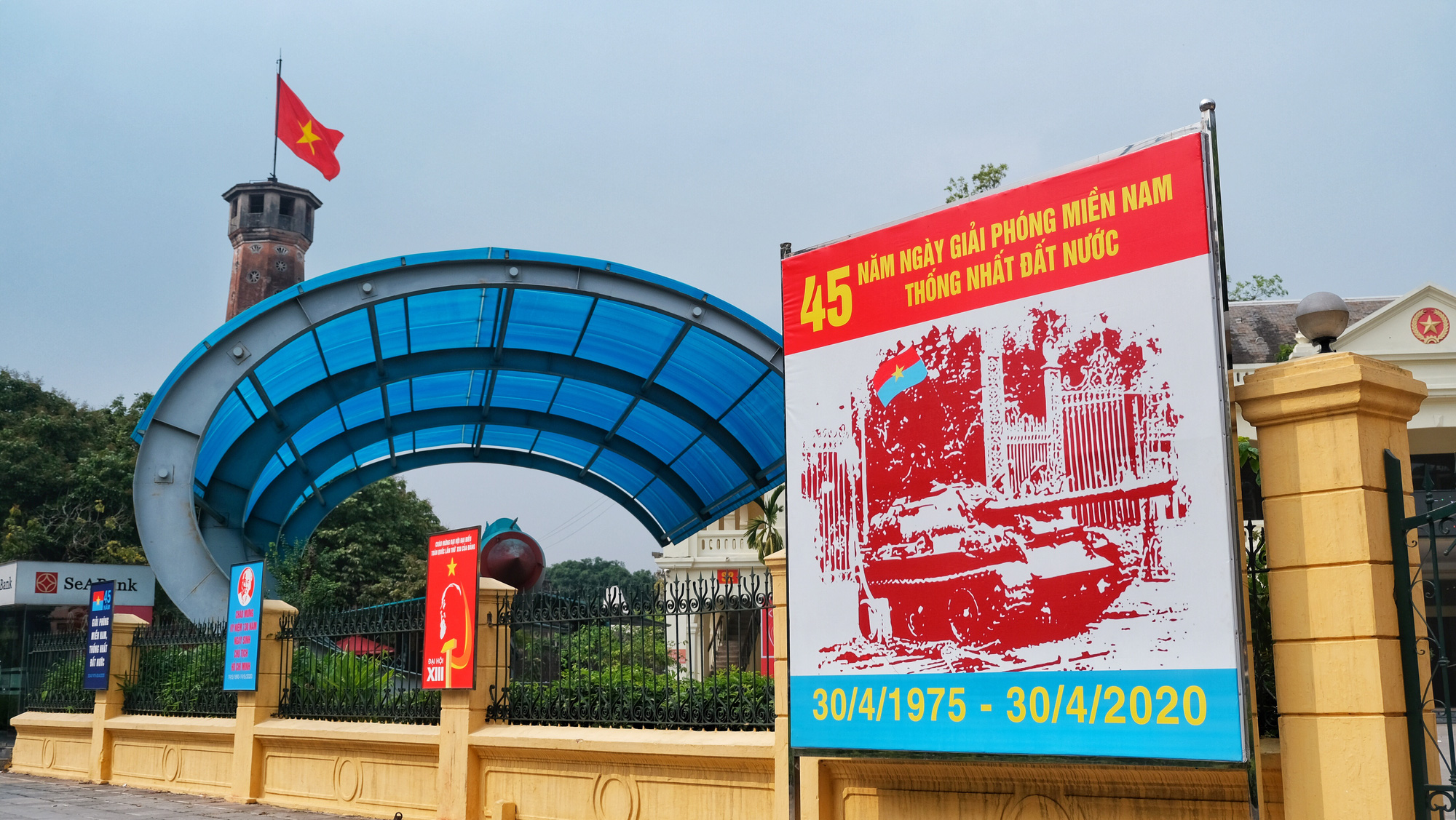 A poster marking the 45th anniversary of Vietnam's National Day on April 30, 2020. Photo: Mai Thuong / Tuoi Tre
