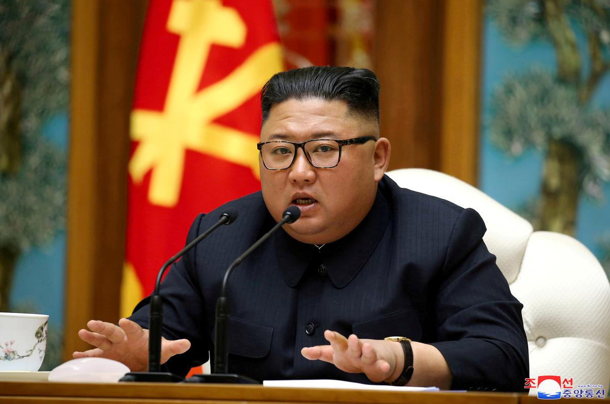 North Korean leader Kim Jong Un speaks as he takes part in a meeting of the Political Bureau of the Central Committee of the Workers' Party of Korea (WPK) in this image released by North Korea's Korean Central News Agency (KCNA) on April 11, 2020. Photo: KCNA via Reuters