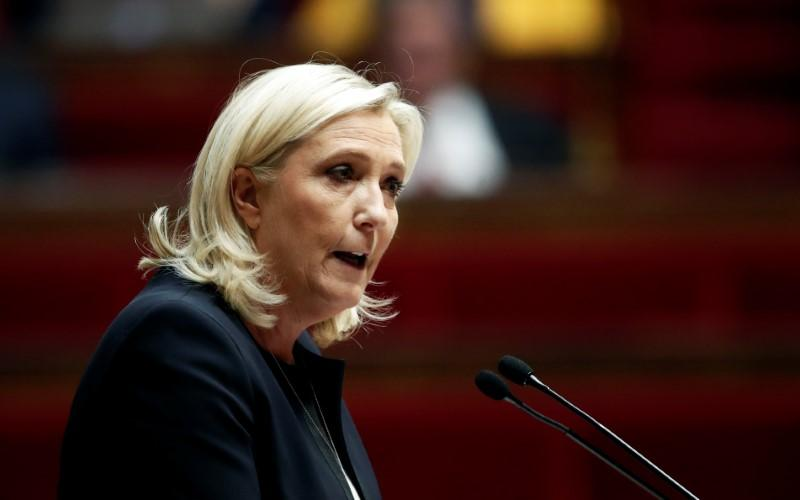 Marine Le Pen, member of parliament and leader of French far-right National Rally (Rassemblement National) party, delivers a speech during a debate on migration at the National Assembly in Paris, France, October 7, 2019. Photo: Reuters