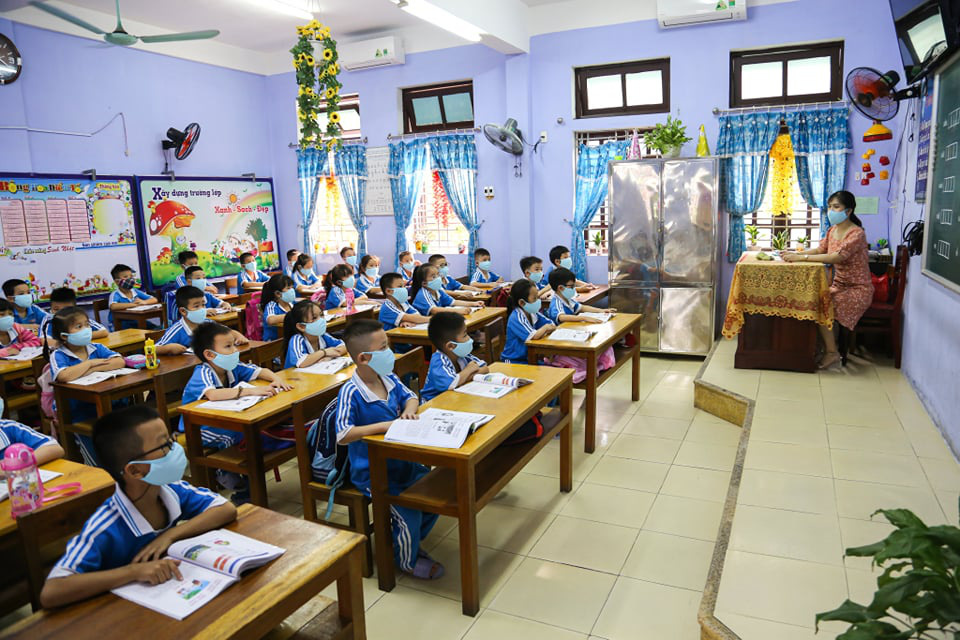 A classroom of a primary school in Thua Thien-Hue Province on May 4, 2020. Photo: Nam Anh / Tuoi Tre