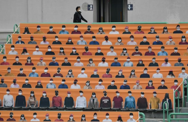Banners depict spectators in the stands prior to South Korea's new baseball season opening game between SK Wyverns and Hanwha Eagles in Incheon. Photo: AFP