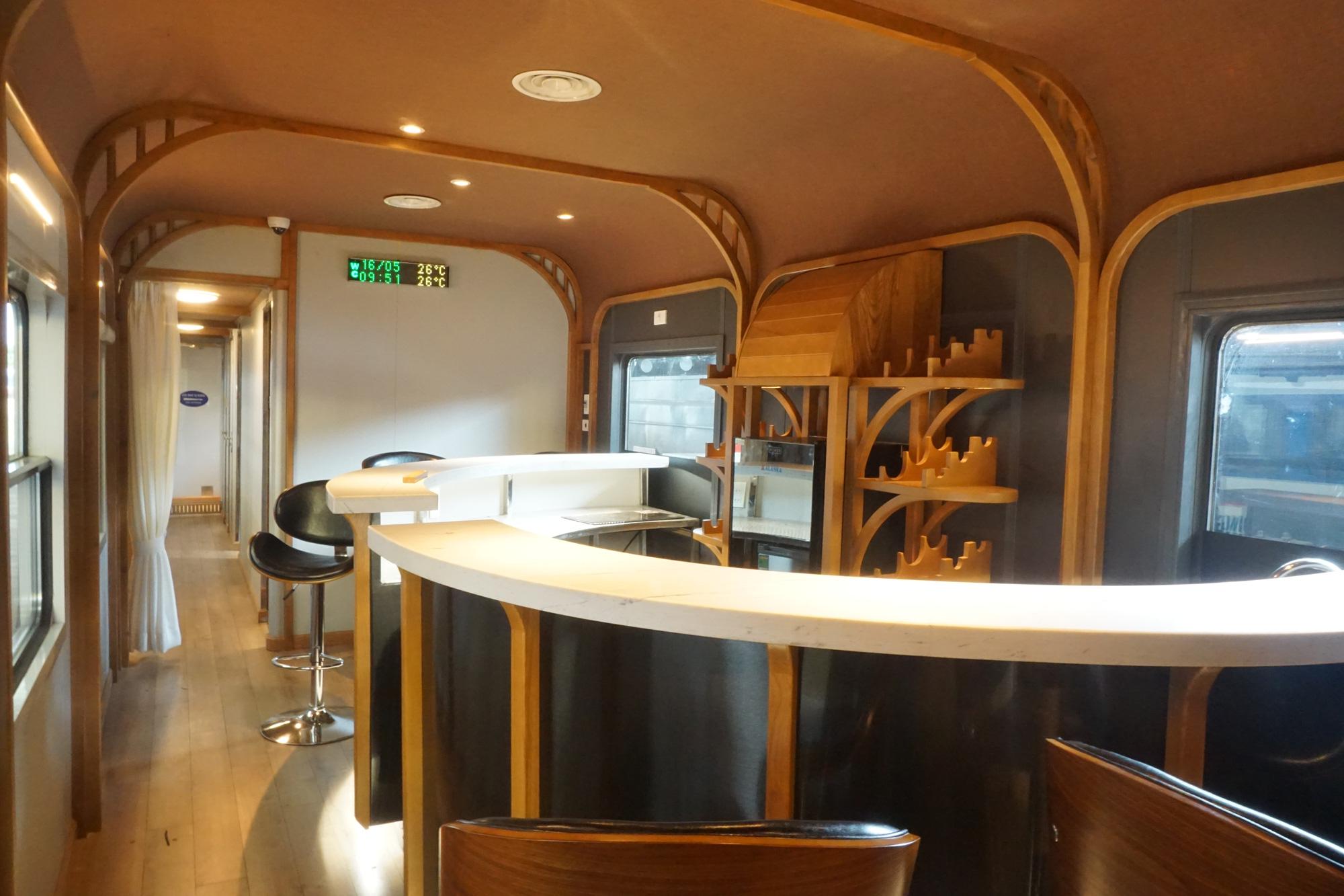 A bar counter inside an upgraded railway car of Di An Train JSC. Photo: Duc Phu / Tuoi Tre