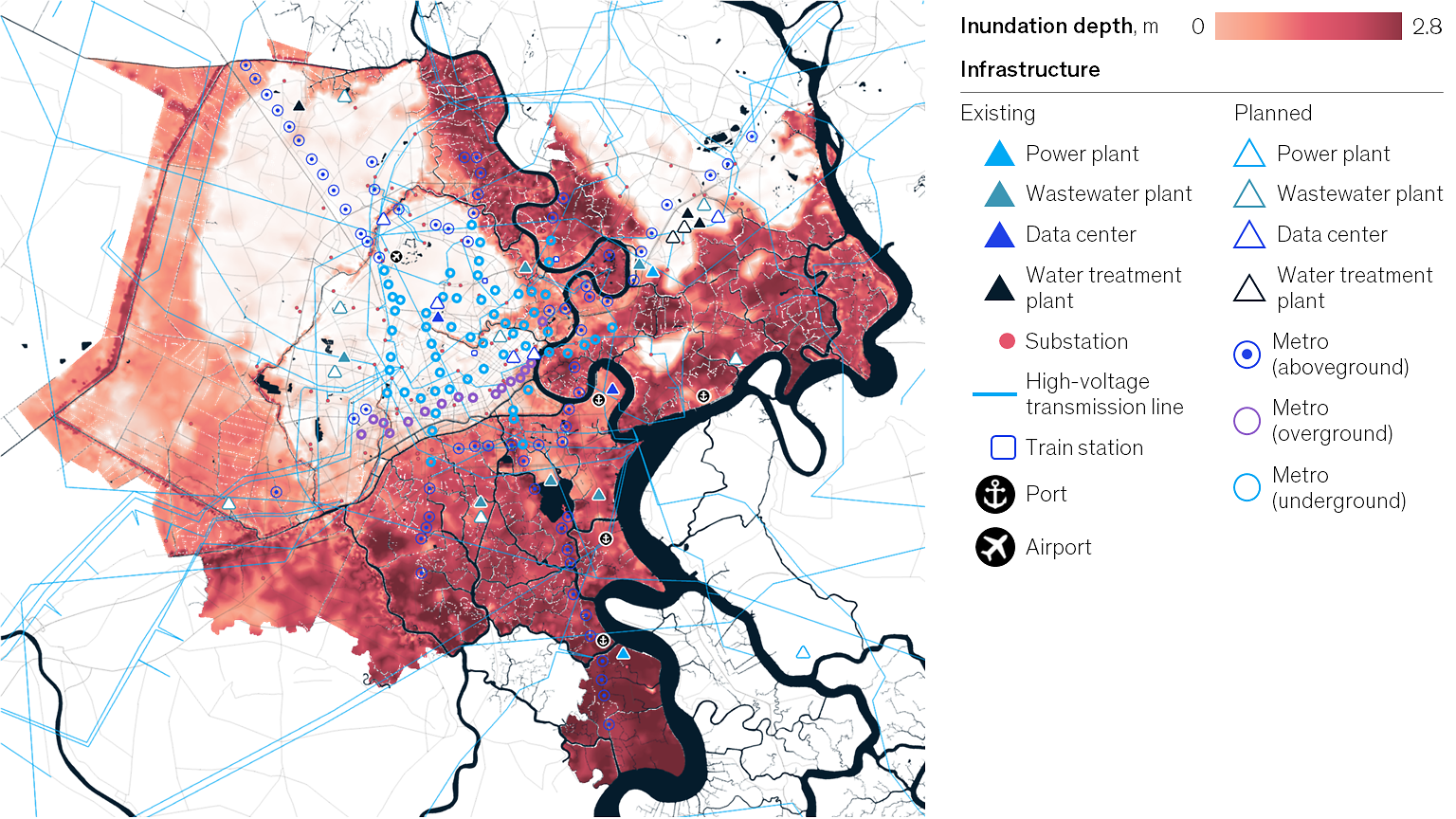 A visualization of depths and extents of 100-year flood in 180-centimeter sea-level rise scenario in Ho Chi Minh City, Vietnam. Graphic: McKinsey Global Institute