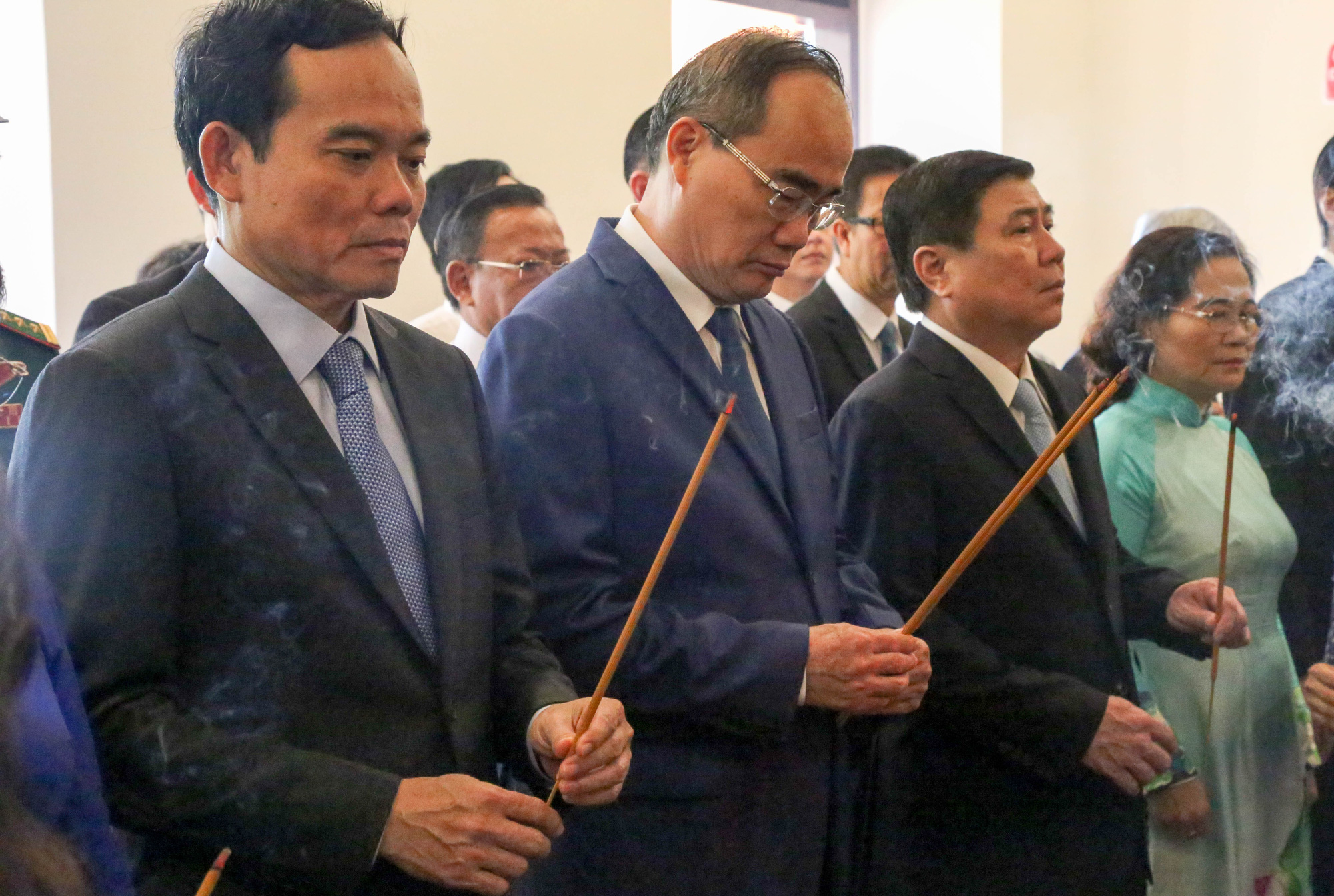 From left: Deputy Secretary of the Party Committee Tran Luu Quang, Secretary of the Party Committee Nguyen Thien Nhan, Chairman of the People's Committee Nguyen Thanh Phong, and Chairwoman of the People's Council Nguyen Thi Le. Photo: Thao Le / Tuoi Tre