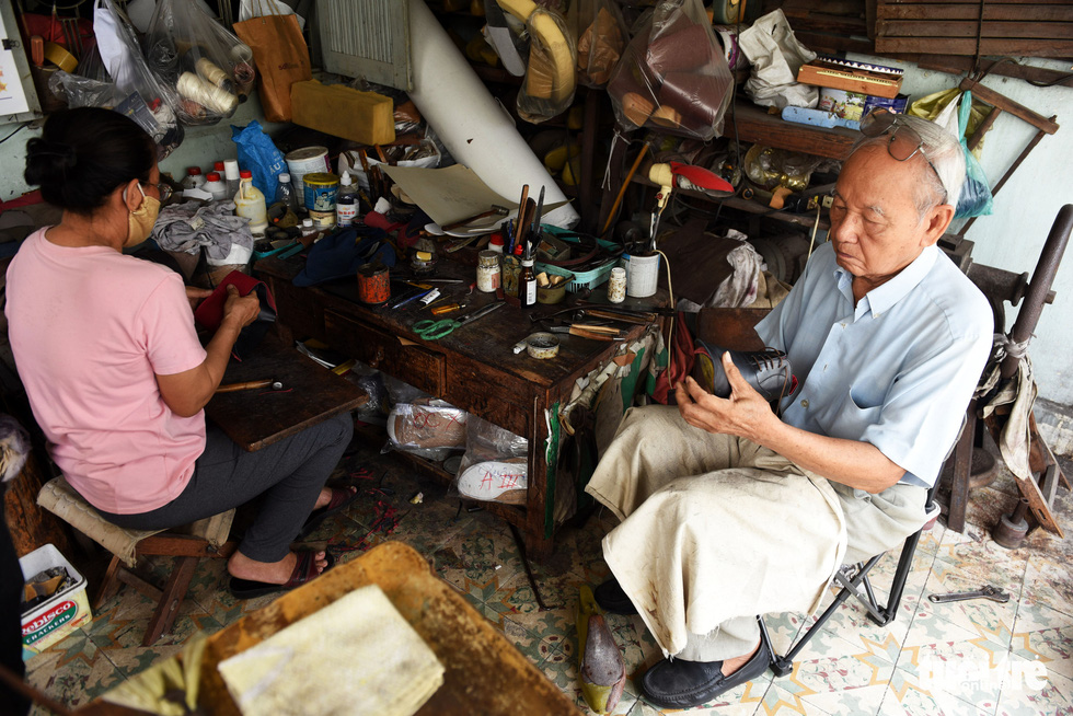 Ngoc is seen making shoes on the fourth floor of his house in Ho Chi Minh City, Vietnam. Photo: Duyen Phan / Tuoi Tre