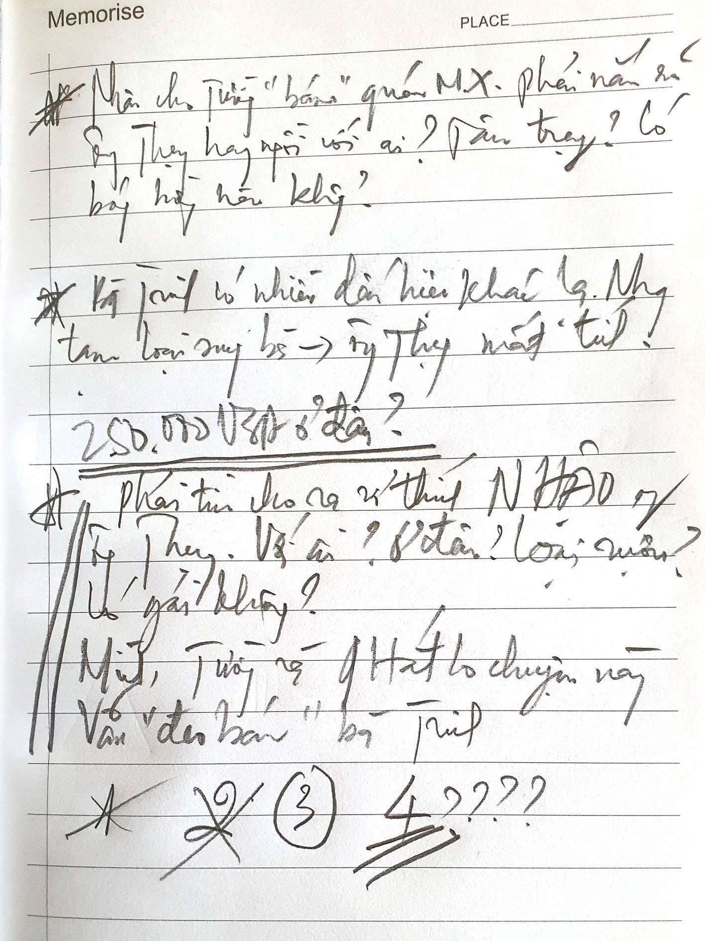 A scribbled note made by detectives during their search for Thuy. Photo:  Manh Dung / Tuoi Tre