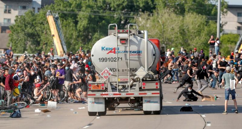 Tanker truck drives into protesters as U.S. cities fear another night of violent protests