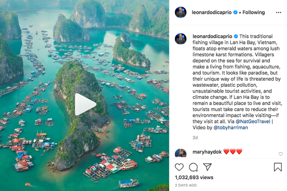 DiCaprio's Instagram post about Vietnamese bay hits million views