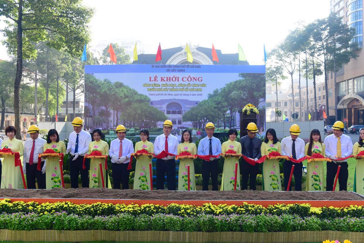 Ho Chi Minh City begins rebuilding park in front of downtown theater