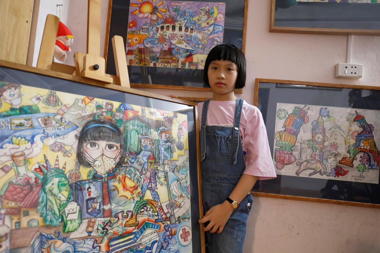 Vietnam schoolgirl creates art from the chaos of the coronavirus