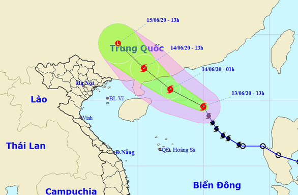 The route map of Storm Nuri