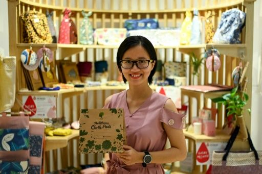 Bui Thi Minh Ngoc wanted to find a sustainable alternative to standard menstrual products. Photo: AFP