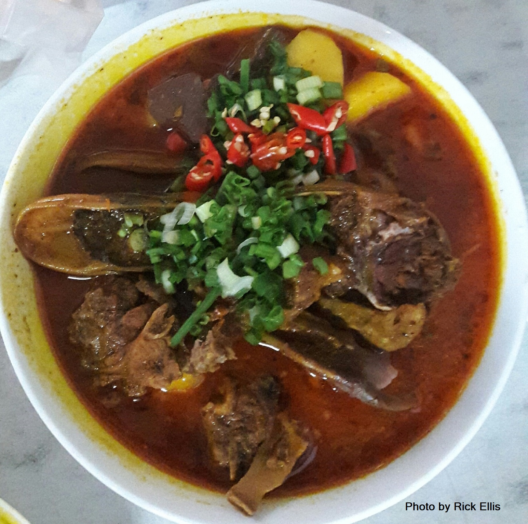 A wicked bowl of 'cà ri vịt' (thick duck curry served with 'bánh mì' baguette) sold at an unnamed street stall in Da Lat City, Lam Dong Province, Vietnam. Photo: Rick Ellis