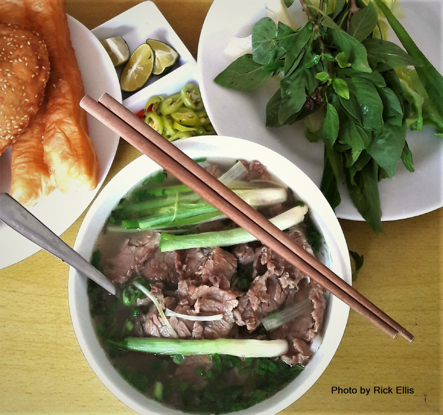 A top-notch bowl of 'phở bắc' (northern-style Vietnamese beef noodle soup) at Phở Trang in Da Lat City, Lam Dong Province, Vietnam. Photo: Rick Ellis