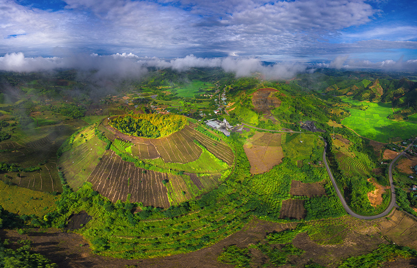 <em>This aerial photo shows t</em><em>he Nam Kar volcano within Dak Nong Global Geopark in Dak Nong Province, Vietnam. Photo: </em>Tran An