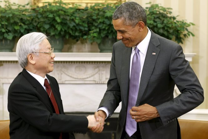U.S. President Barack Obama receives Vietnamese Party General Secretary Nguyen Phu Trong at the White House in July 2015. Photo: Reuters