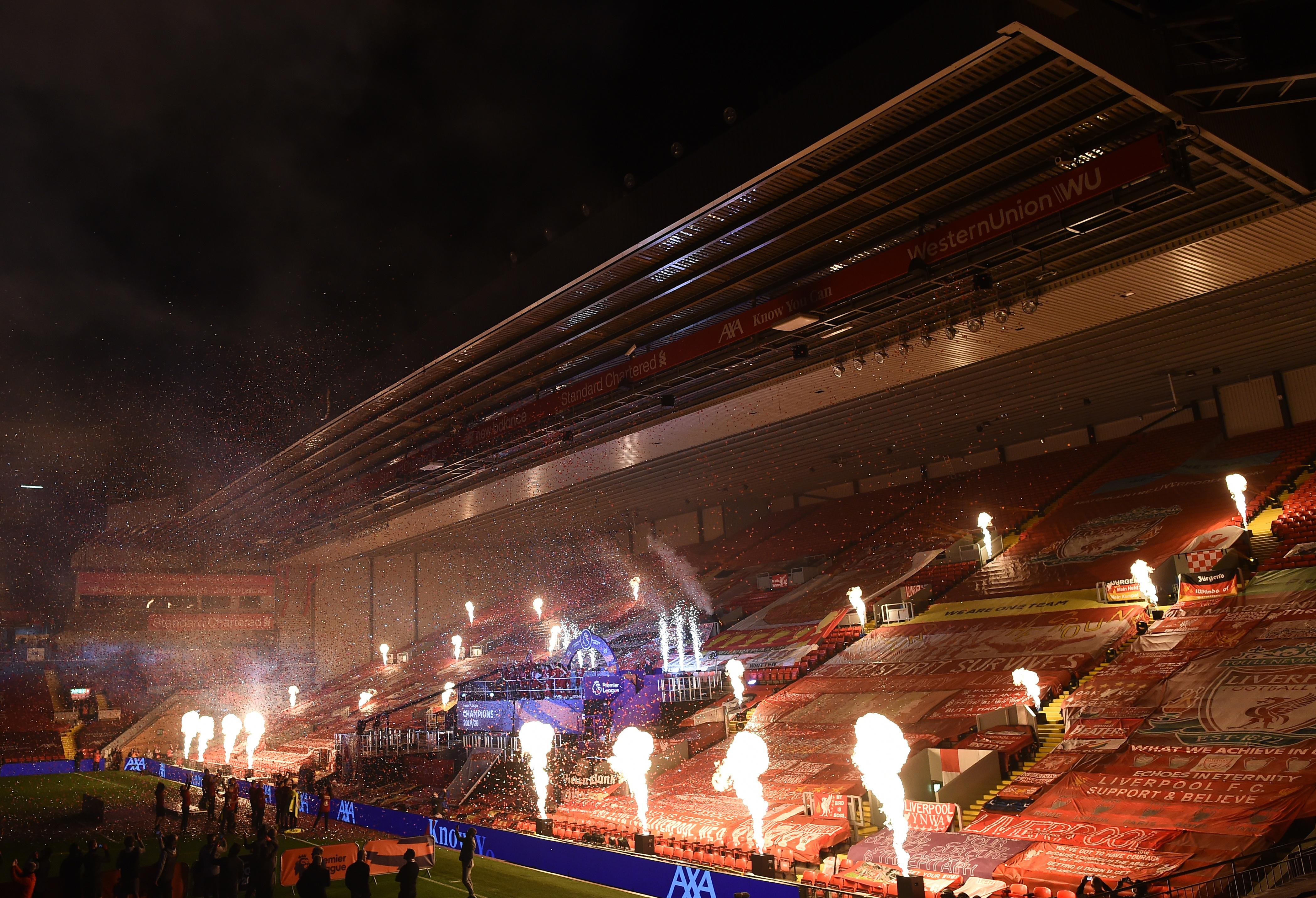 General view inside the stadium after Liverpool won the Premier League in Anfield, Liverpool, Britain, July 22, 2020. Photo: Reuters