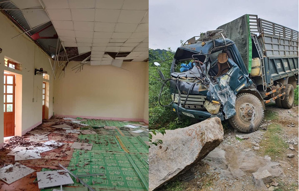A house and a car are damaged after three earthquakes hit Moc Chau District, Son La Province, Vietnam July 26, 2020. Photo: Lam Xuan / Tuoi Tre