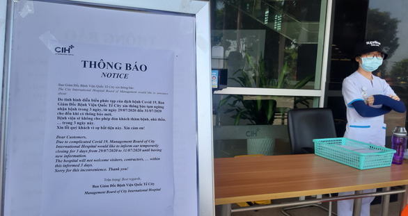 A notice from City International Hospital in Binh Tan District, Ho Chi Minh City. Photo: Duyen Phan / Tuoi Tre