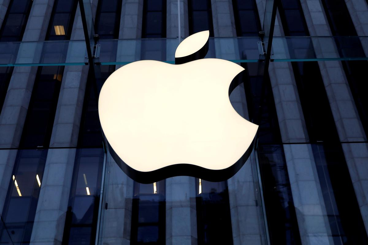 The Apple Inc logo is seen hanging at the entrance to the Apple store on 5th Avenue in Manhattan, New York, U.S., October 16, 2019. Photo: Reuters