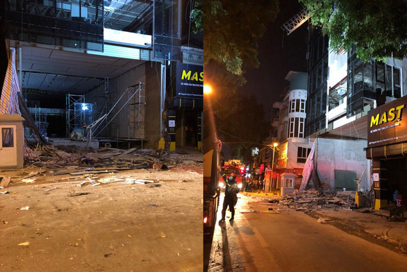 The scene of a collapsed scaffold which killed four construction workers in Hanoi, Vietnam, July 30, 2020. Photo: Tuoi Tre Contributor