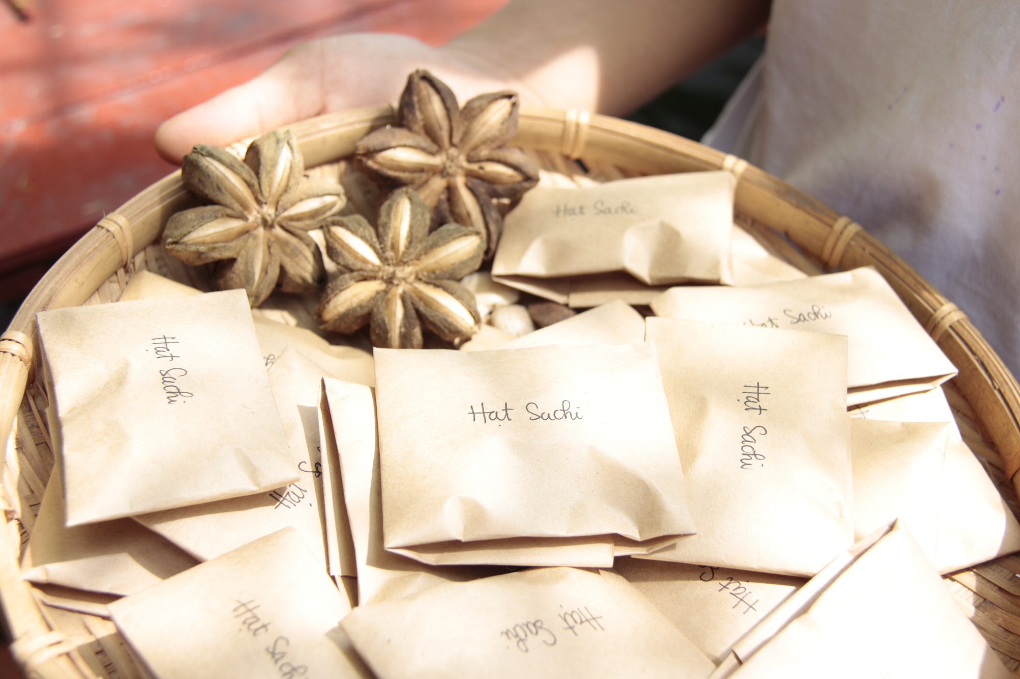Packets of heirloom seeds being prepared for giveaway at Mzung Space in District 4, Ho Chi Minh City in a provided photo.