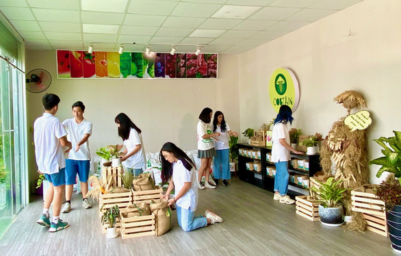 This supplied photo shows a group of seven Vietnamese high school students who won the first prize at the 2020 Students for the Advancement of Global Entrepreneurship (SAGE) World Cup.