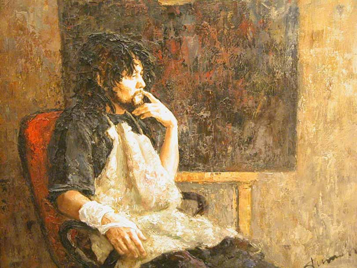 A self-portrait by Russian artist Tuman Zhuamabaev posted to his Facebook account.