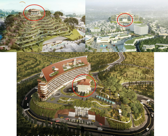 This collage shows artist's impressions of three planning options for the future Dinh Hill featuring a complex of hotel, exhibitions and services in Da Lat City, Lam Dong Province, Vietnam.