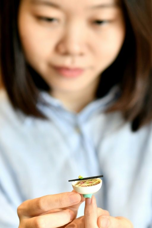 Artist Nguyen Thi Ha An holds one of her miniature food models. Photo: AFP