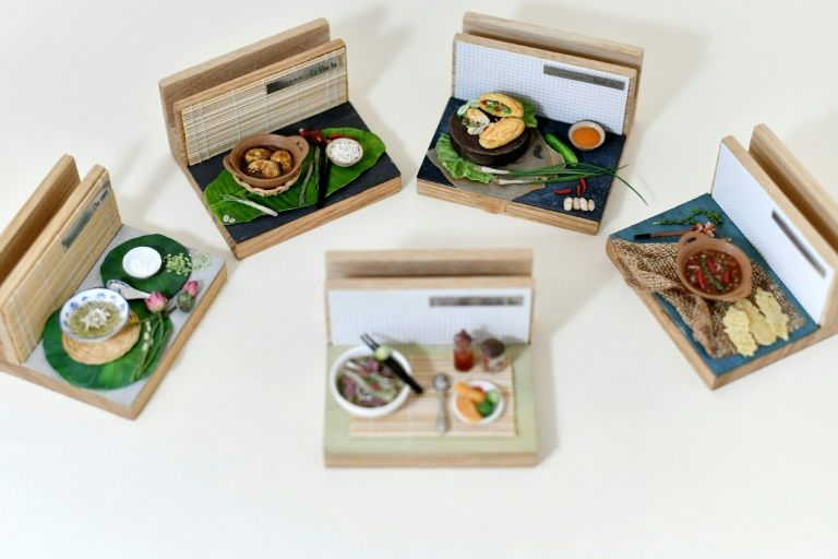 Tiny clay models of Vietnamese dishes created by Vietnamese artist Nguyen Thi Ha An. Photo: AFP