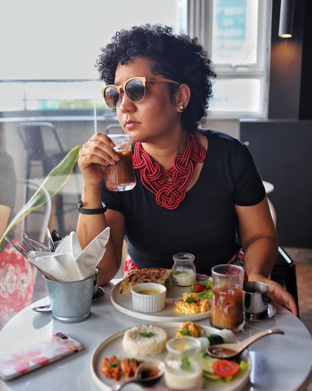 Leandré Heslop is seen in a photo posted on her travel Instagram handle @leandreh