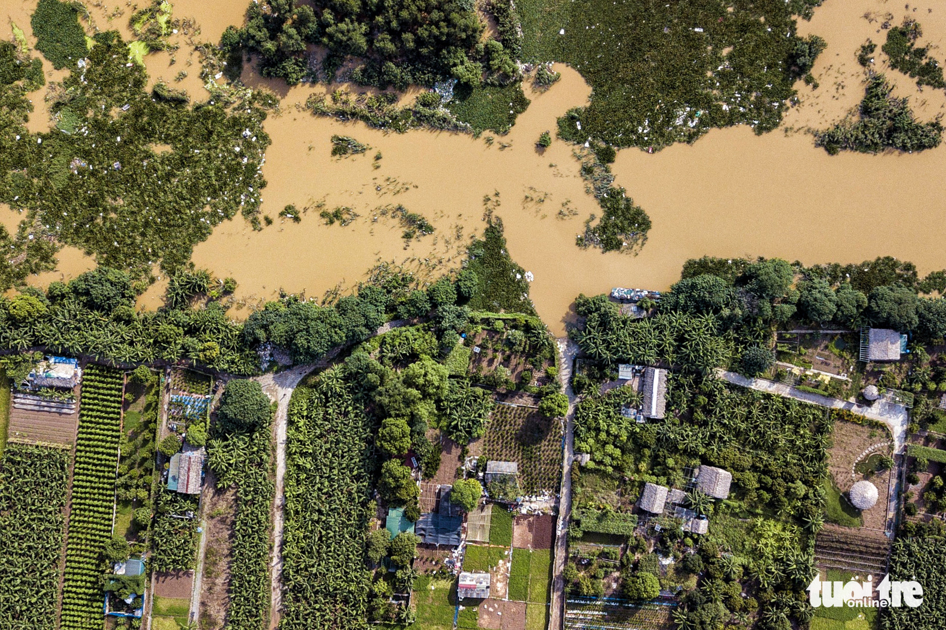 A bird's-eye view of rising water level in the Hong River in Hanoi, August 22, 2020. Photo: L.V. / Tuoi Tre