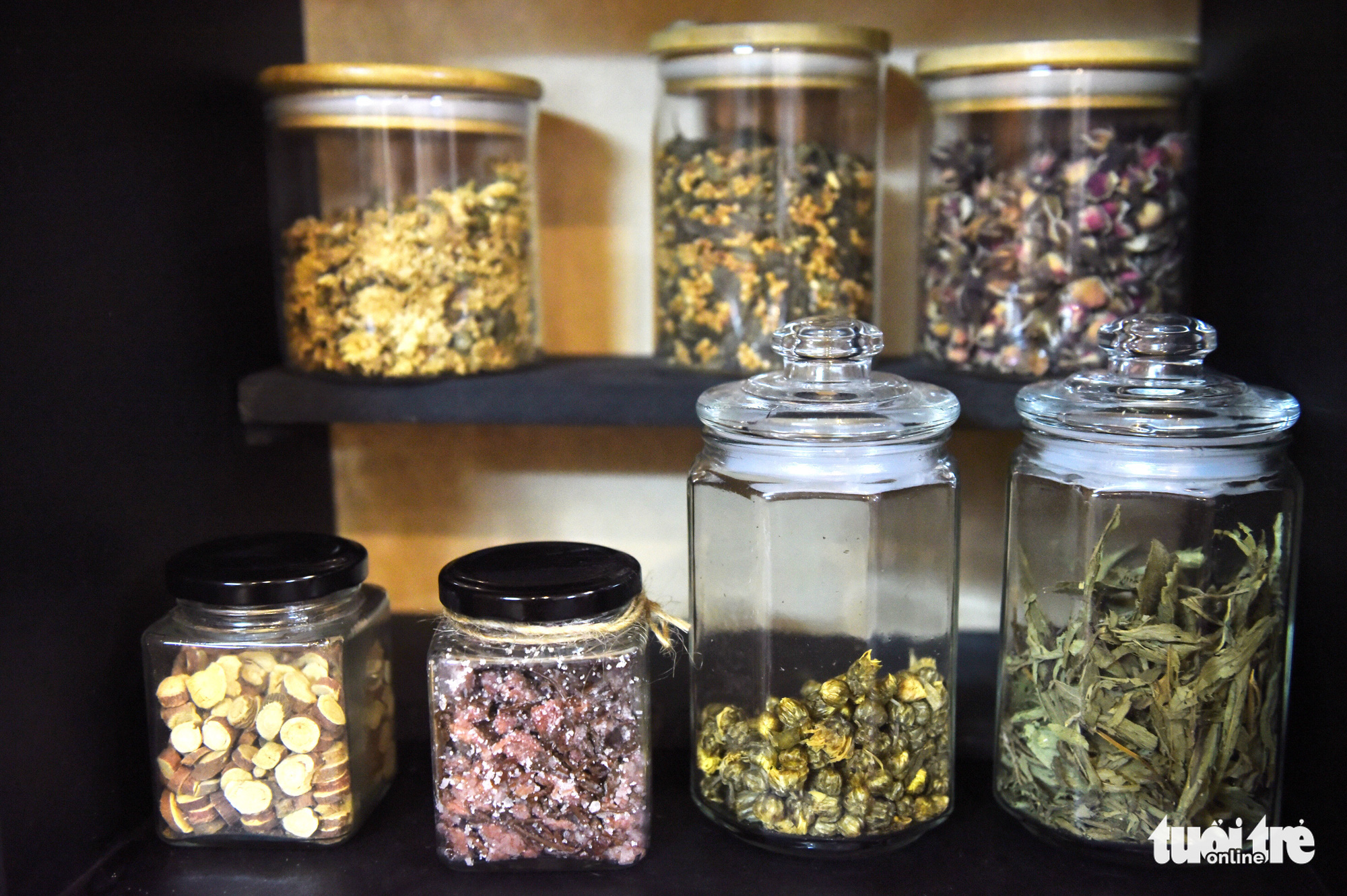 Various kinds of tea are preserved in glass jars at the Zentea teahouse in Ho Chi Minh City, Vietnam. Photo: Tuoi Tre