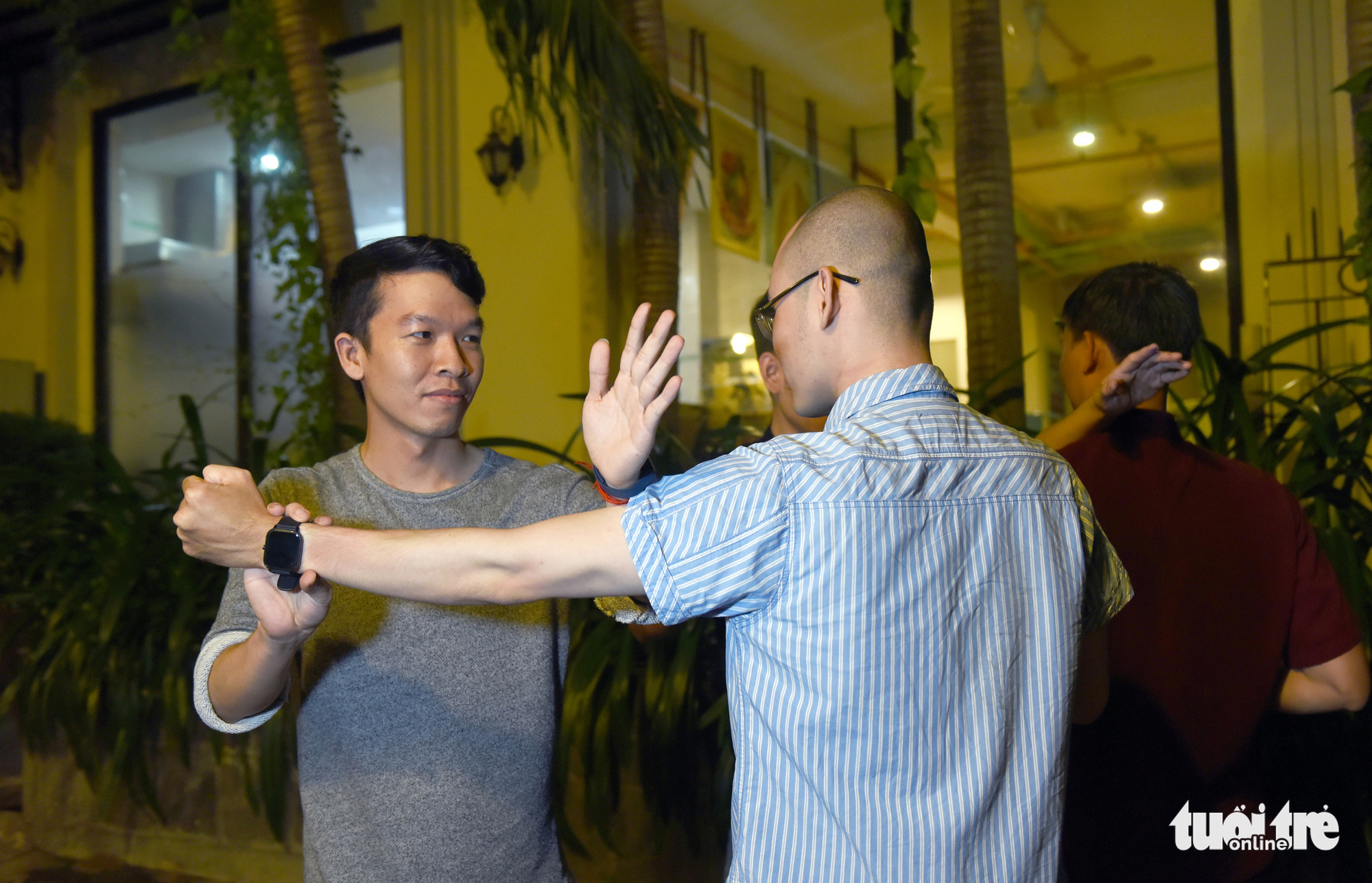 Two men train during a self-defense martial art class held every Friday at the Zentea teahouse in Ho Chi Minh City, Vietnam. Photo: Tuoi Tre