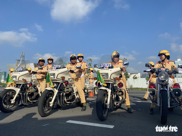 Traffic police officers at the launching ceremony of the 58-policewomen escort unit in Ho Chi Minh City on August 25, 2020. Photo: Thu Dung / Tuoi Tre