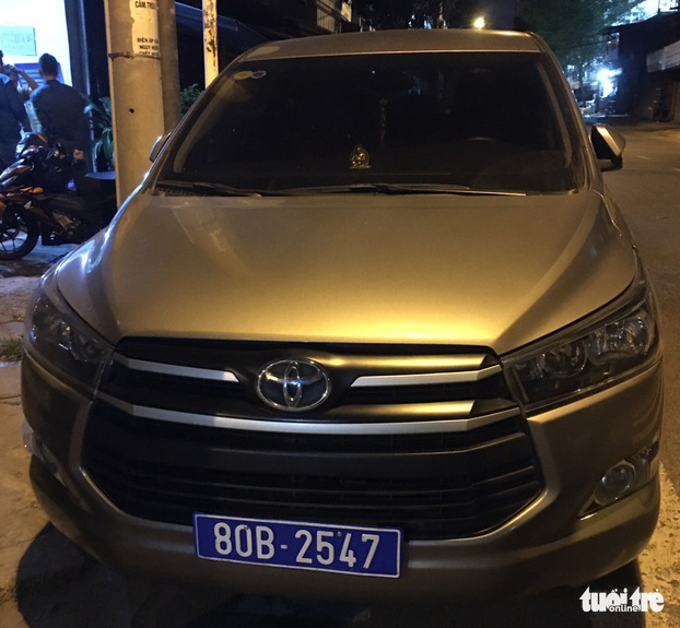 A rented car with a fake license plate that Thai and Son drives to L.H.T.'s house on August 28, 2020.