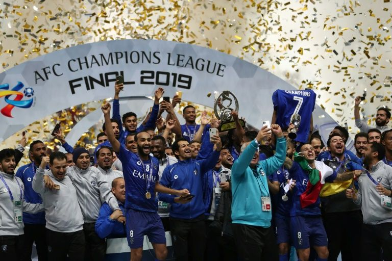 Saudi Arabia's Al-Hilal celebrate after winning the Asian Champions League final against Urawa Reds on Nov. 24, 2019, in Saitama, Japan. Photo: AFP