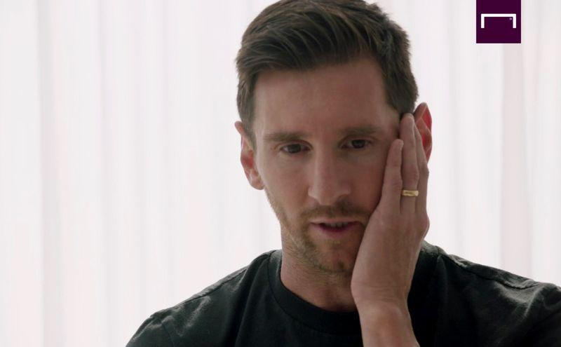 A screenshot shows an interview with Lionel Messi at his home in Barcelona, Spain - September 4, 2020. Photo: Goal/ Handout via Reuters