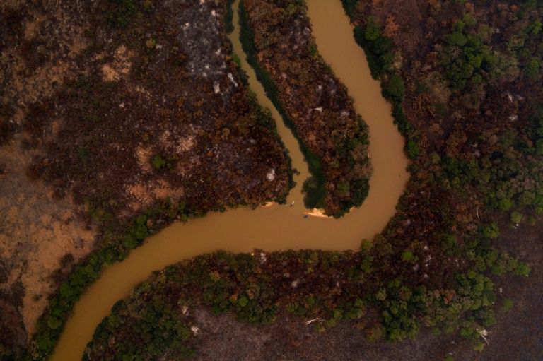 An aerial view showing damage from a fire at the wetland of Pantanal at the Transpantaneira park road in Mato Grosso state, Brazil, on September 13, 2020. Photo: AFP