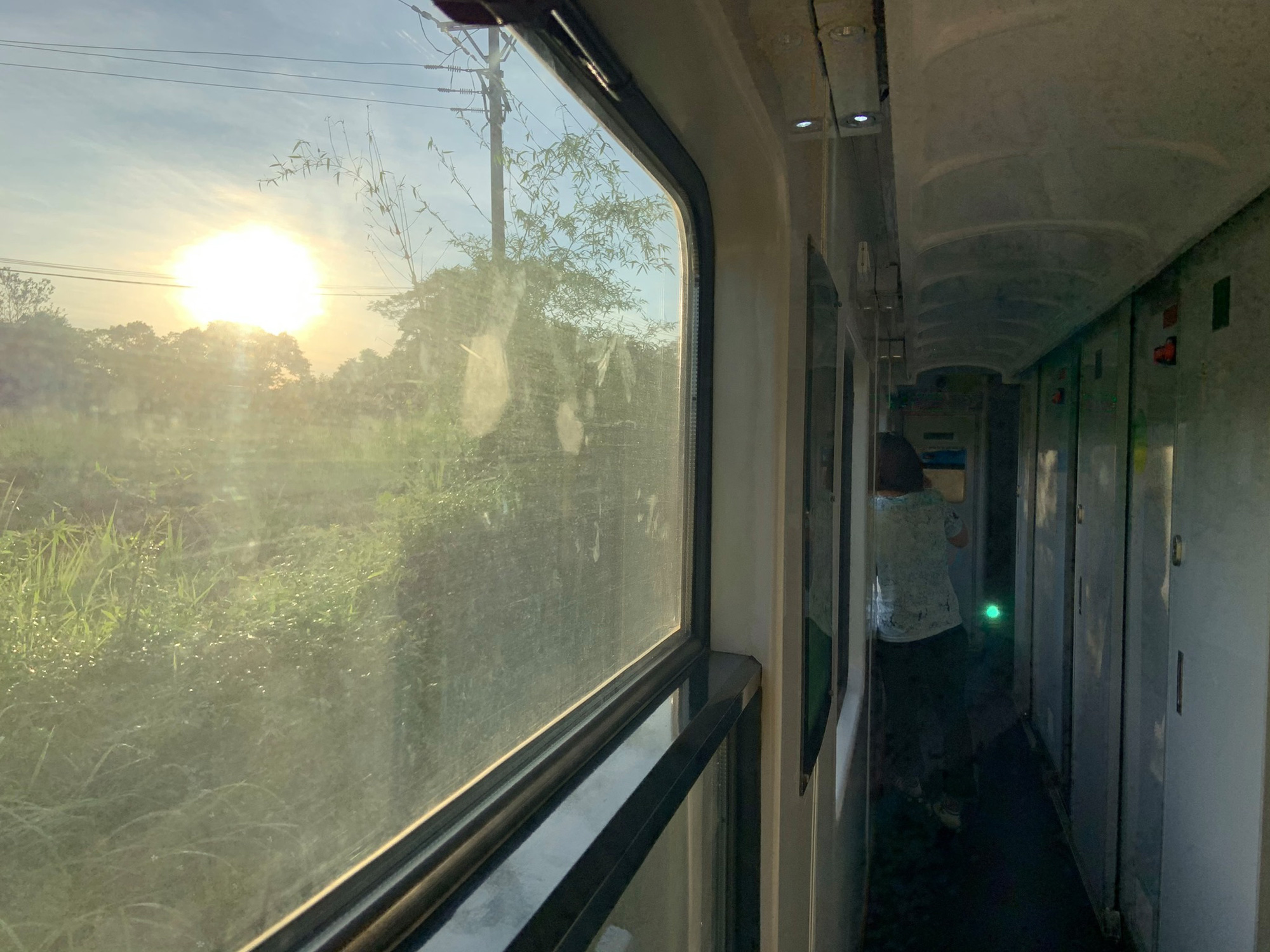 The early dawn is captured in this photo taken on a train from Hanoi to Quang Binh Province, Vietnam.