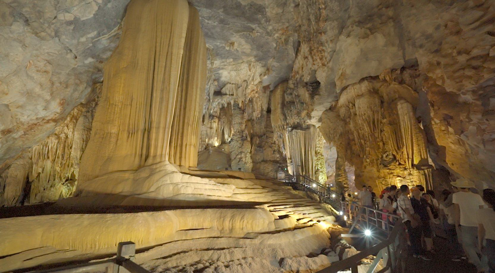 A score of stalactites in Phong Nha Cave in Quang Binh Province, Vietnam are captured in this photo.