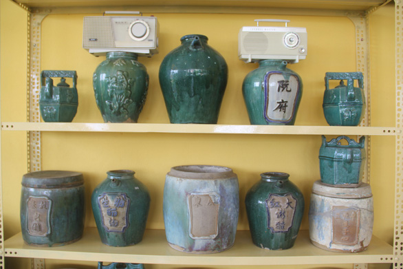Jars dating back to over 100 years ago are displayed in the house of Pham Van Hai in the southern city of Can Tho. Photo: Chi Hanh/ Tuoi Tre
