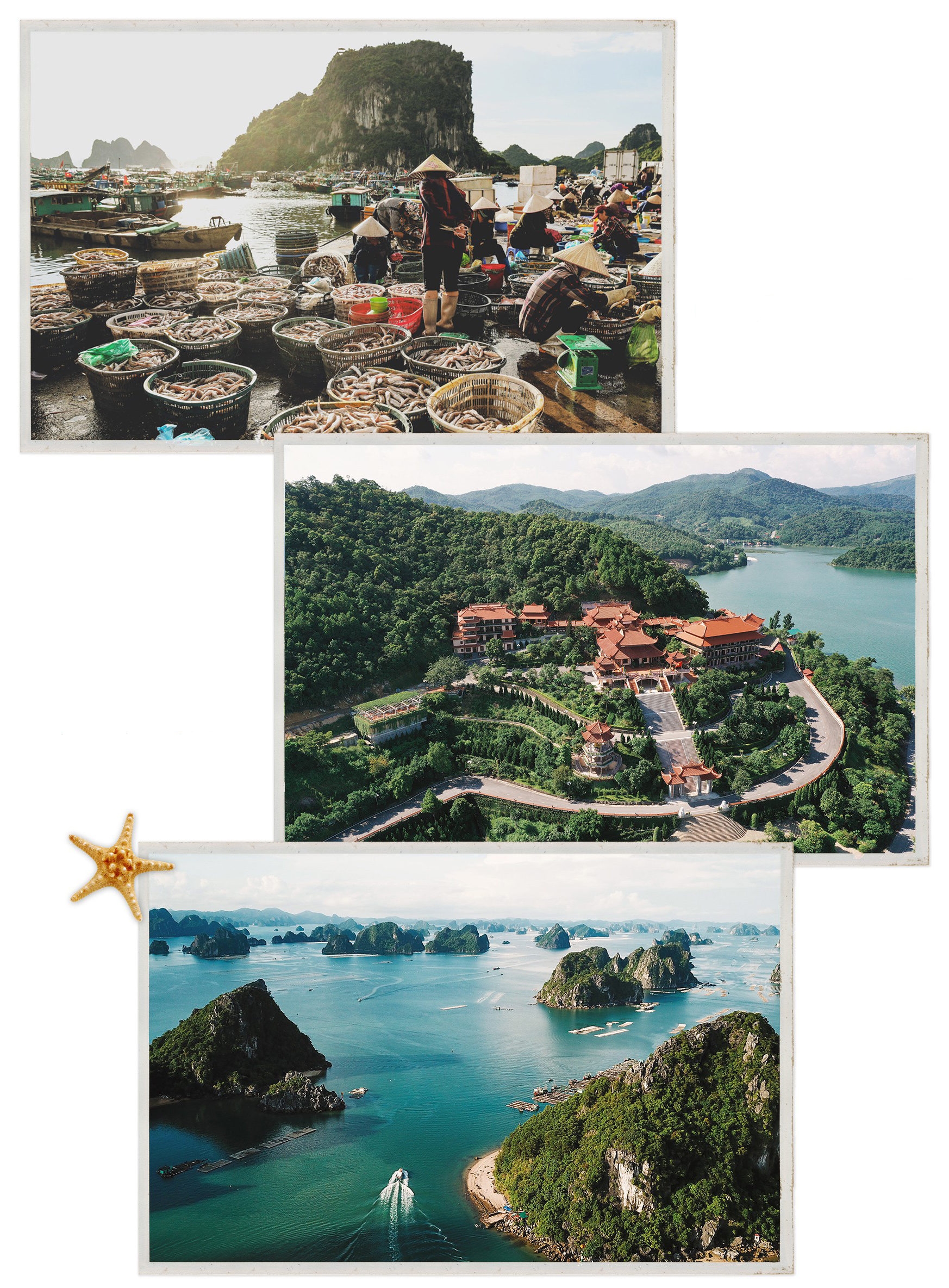 An early-morning fish market on Van Don Island (top); an aerial view of Cai Bau Pagoda (middle), and an aerial view of Bai Tu Long Bay (bottom) are seen in these photos of Van Don District, Quang Ninh Province, Vietnam. Photo: Nguyen Khanh / Tuoi Tre