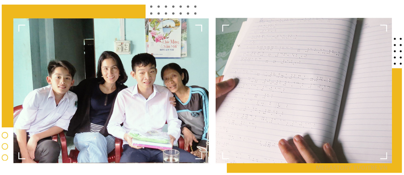 Tran Viet Hoang (second right) is seen with his mother (right) in the photo on the left and Hoang's Braille textbook is seen in the photo on the right. Photos: M.G. - V.K. / Tuoi Tre
