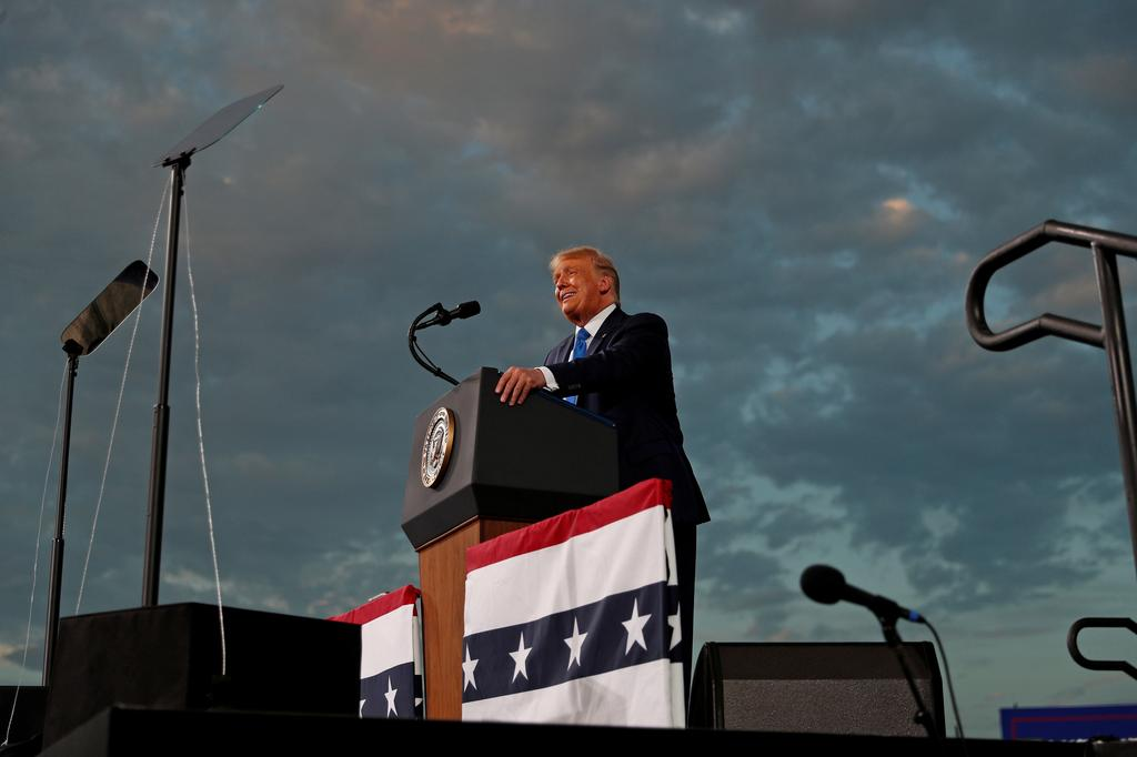 U.S. President Donald Trump speaks during a campaign rally at Cecil Airport in Jacksonville, Florida, U.S., September 24, 2020. Photo: Reuters